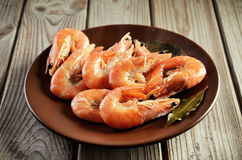 Boiled shrimp on a plate on a wooden background Royalty Free Stock Images