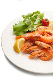Boiled shrimp with salad Royalty Free Stock Image
