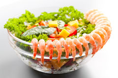Boiled shrimp salad with cheese. And vegetables royalty free stock images