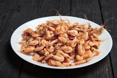 Boiled shrimp in shell with salt on white plate Royalty Free Stock Photo