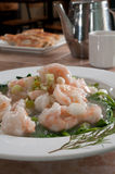 Boiled shrimp and snow peas Stock Image