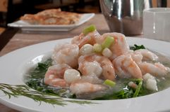Boiled shrimp and snow peas Stock Images