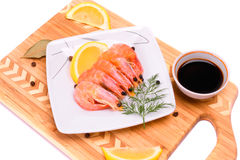 Boiled shrimp on a square plate. Stock Photography