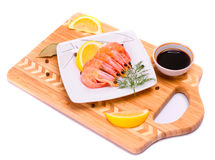 Boiled shrimp on a square plate Royalty Free Stock Photos