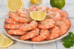 Boiled shrimp. On a white background Stock Photography