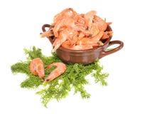 Boiled shrimps in a ceramic vase. Boiled shrimps lie in a ceramic vase Stock Photography