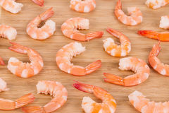 Boiled shrimps on cutting board. Royalty Free Stock Image