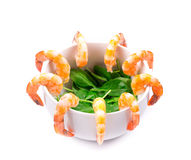Boiled shrimps and fresh spinach. Stock Photo