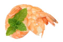 Boiled shrimps and mint Royalty Free Stock Image