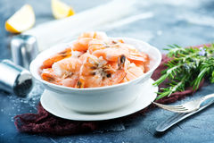Boiled shrimps. With salt and fresh lemon Stock Photography