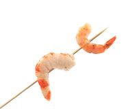 Boiled shrimps on skewer. royalty free stock photos