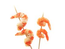 Boiled shrimps on skewers. Royalty Free Stock Image
