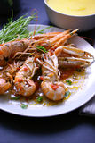 Boiled shrimps with tomato wine sauce Royalty Free Stock Images
