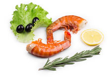 Boiled shrimps on white Royalty Free Stock Photo
