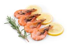 Boiled shrimps on white. Royalty Free Stock Photos