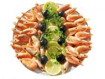 Boiled shrimps wth olives and lemon slices Stock Image