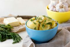 Boiled sliced potatoes with fresh dill Royalty Free Stock Photography