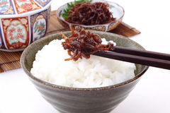 Boiled small fish with rice, Japanese food Stock Images