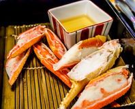 Boiled snow crab legs in Japanese restaurant Royalty Free Stock Image
