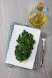 Boiled spinach on white dish. Royalty Free Stock Photography