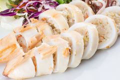 Boiled squid served in white dish Stock Images