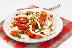 Boiled squid with vegetables Royalty Free Stock Images