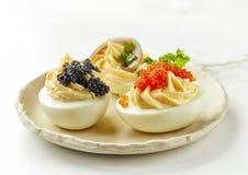 Boiled stuffed decorative eggs Royalty Free Stock Photos