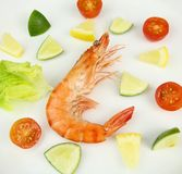 Boiled tiger Prawns. Accompanied with Salad and Citrus Fruits Royalty Free Stock Photos