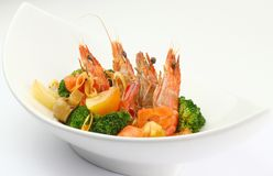 Boiled Tiger Prawns with Vegetables. On White Plate Stock Photography