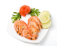 The boiled tiger shrimps Royalty Free Stock Photos