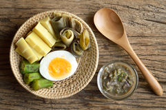 Boiled vegetables with nam prik or chili paste Stock Photos