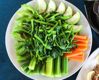 Boiled vegetables. Vietnamese cuisine - Boiled vegetables with fish sauce Stock Photo