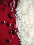 Boiled white rice and sour cherry sauce - food background. Closeup shot of boiled white rice and sour cherry sauce - food background stock image