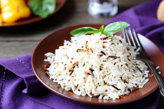 Boiled white and wild rice Royalty Free Stock Photo