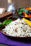 Boiled white and wild rice on a plate Stock Photography