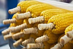 Boiled yellow corn sold by street vendors in Thailand stock photos