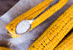 Boiled yellow corn and a teaspoon of salt, close up Stock Photo