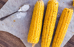 Boiled yellow corn and a teaspoon of salt Stock Photo