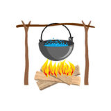Boiler with camping. Campfire place. boiler and firewood.  Stock Photography