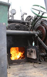 Boiler with fire of an old steam locomotive Royalty Free Stock Photos