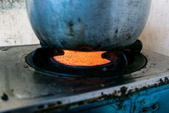 The boiler on gas flame stock photography