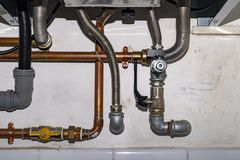 Boiler gas heater pipe connection. Boiler gas and water heater pipe connection royalty free stock image
