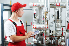 Boiler heating system inspection Royalty Free Stock Photography