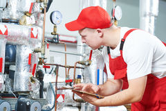Boiler heating system inspection Stock Photo