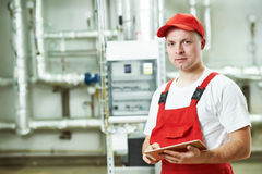 Boiler heating system worker Stock Photography
