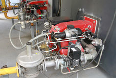 Boiler-house with two-fuel burners Stock Photography