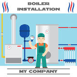 Boiler installation banner. Business card. Royalty Free Stock Photography