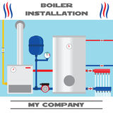 Boiler installation banner. Flat icon. Royalty Free Stock Images