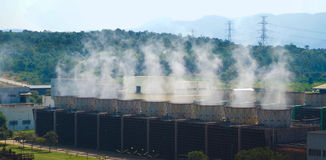 Boiler of Power Plant is working. There is the steam was released.Shooting at MaeMoh Power Plant in Thailand Stock Photo