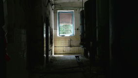 Boiler room in the abandoned factory. Smooth and slow dolly shot stock video footage